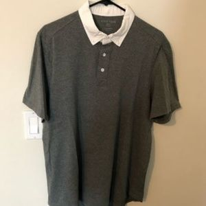 Like New Five Four gray/white polo oxford collar L
